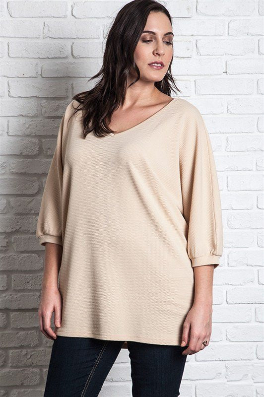 plus size tan v-neck and 3/4 sleeves tunic