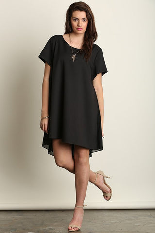 "Plus Size ""The Staple"" Asymmetrical Hem Dress - Black"