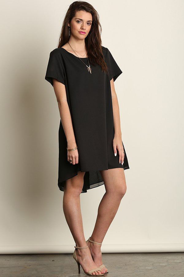plus size short sleeve a line hi lo black dress