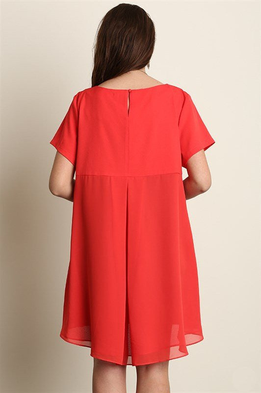 Plus Size Short Sleeve A-Line Hi-Lo Dress - Red - DeSarti.com