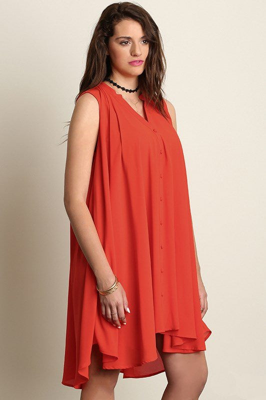 plus size button up sleeveless red trapeze dress