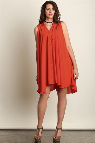 Plus Size Asymmetrical Hem Dress with Pockets - Rust
