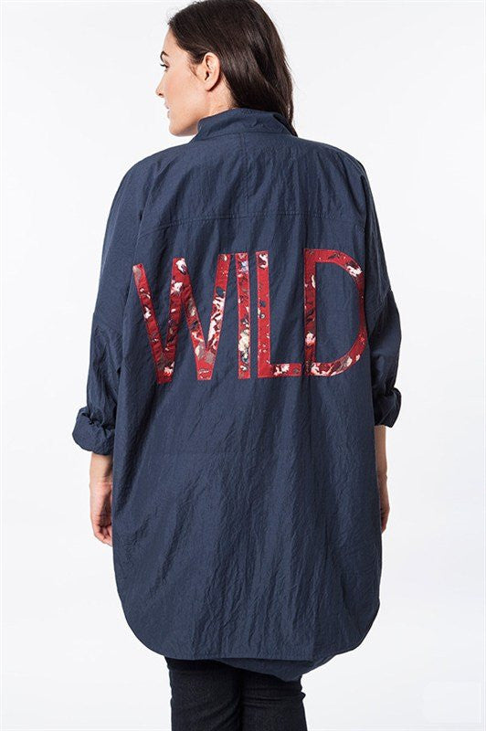 "Plus Size Lightweight Navy ""Wild"" Cargo Jacket"