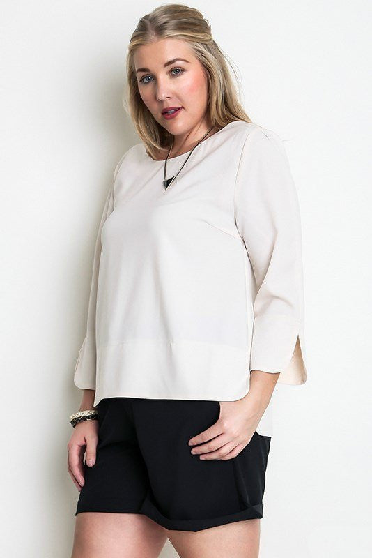 plus size 3/4 sleeve casual chic top