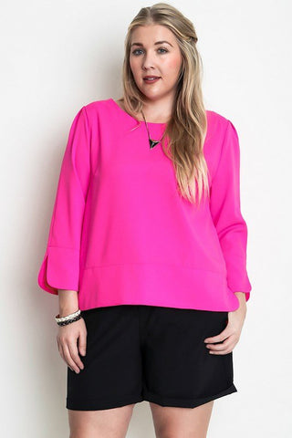 Plus Size Colorblock Dolman Sleeve Top - Hot Pink