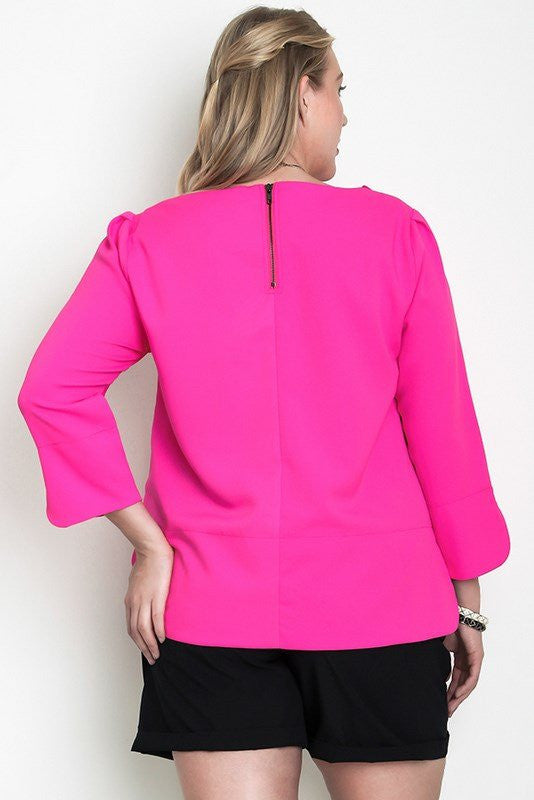 plus size 3/4 sleeve casual chic top hot pink