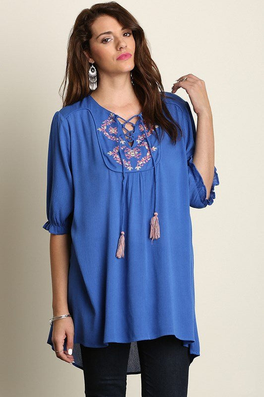 plus size 3/4 sleeve embroidered blue tunic