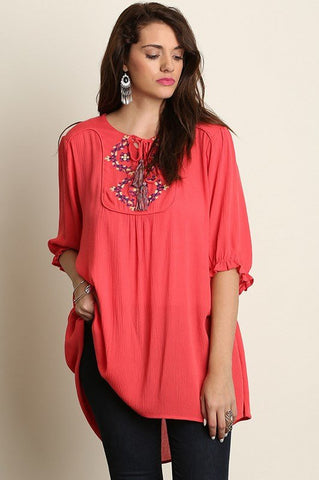 Plus Size Semi Sheer Hi-Lo Stripe Button Up Lace Top - Red