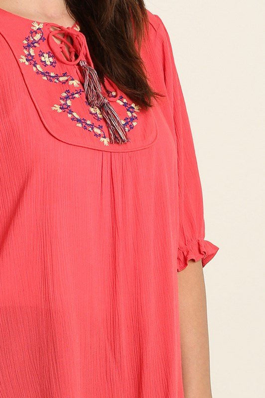 plus size 3/4 sleeve embroidered coral tunic