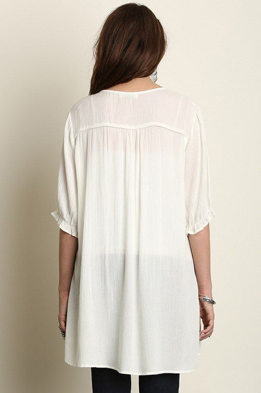 plus size 3/4 sleeve embroidered white tunic