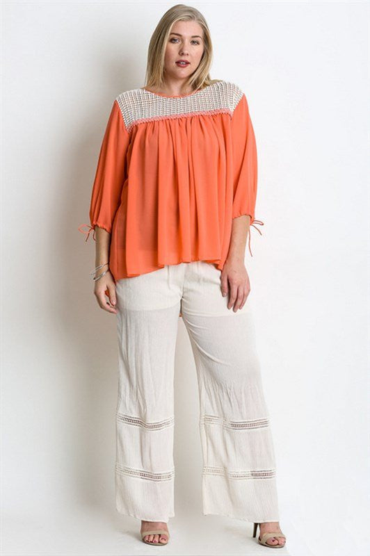 plus size 3/4 sleeve coral crochet neck hi lo top
