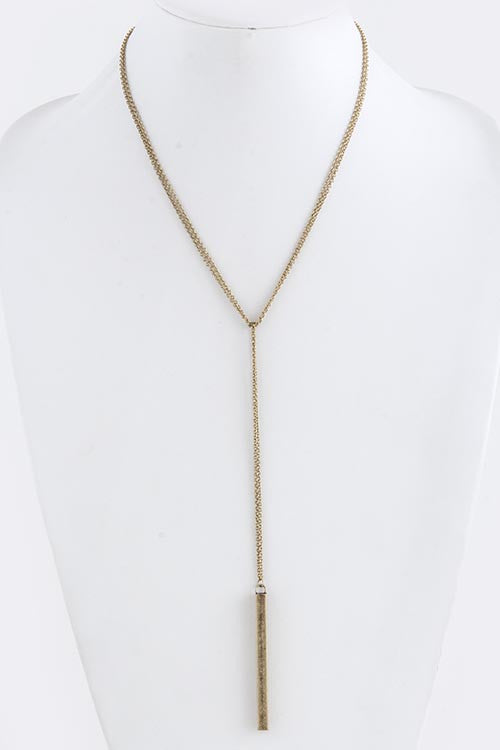 rectangle metal tube drop necklace in antique gold