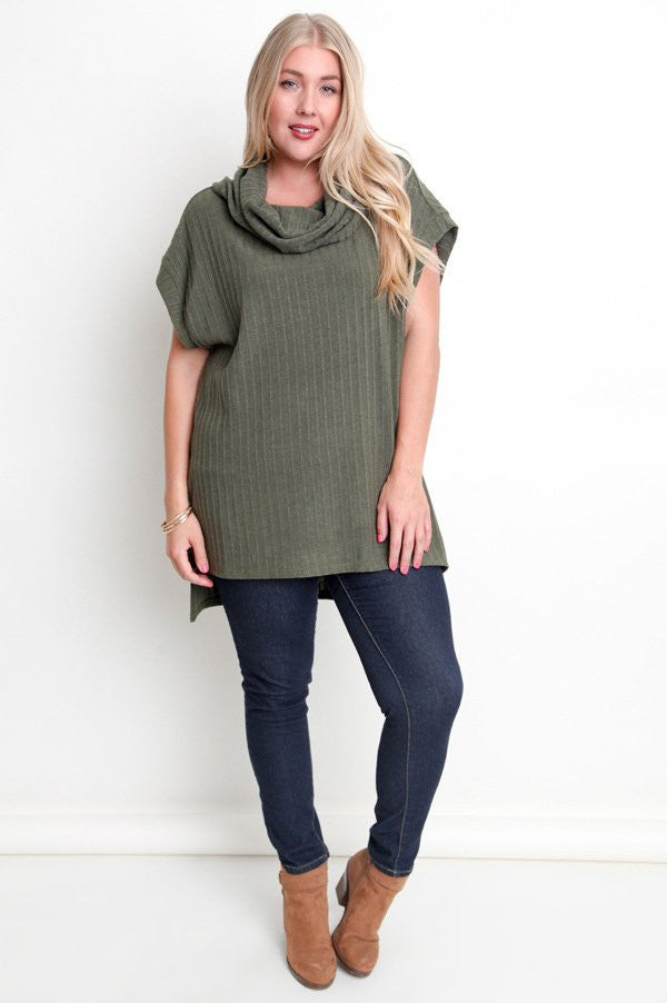 plus size army green cowl neck hi-lo tunic