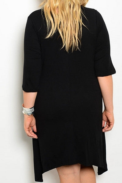 plus size asymmetrical dress with pockets black