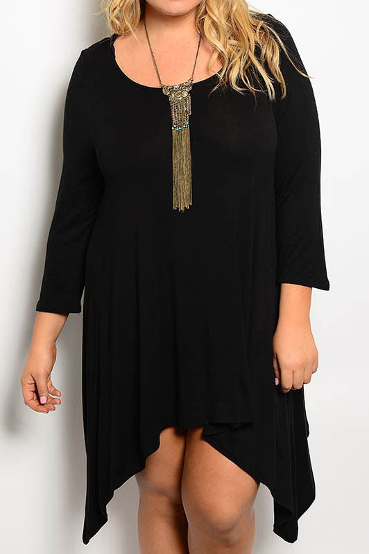 women's plus size asymmetrical hem black dress
