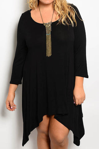 Plus Size Asymmetrical Hem Dress with Pockets - Burgundy