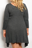 women's plus size asymmetrical hem grey dress