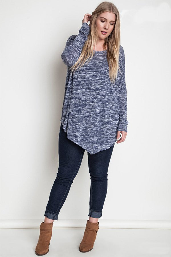 plus size asymmetrical knit top indigo