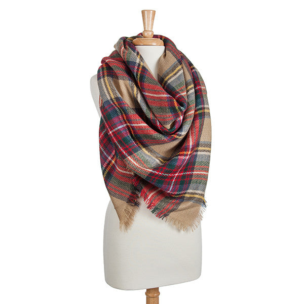 plaid blanket scarf beige multi