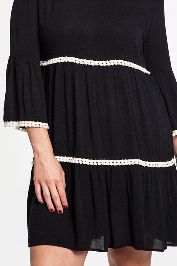 Plus Size Black Bell Sleeve Peasant Dress