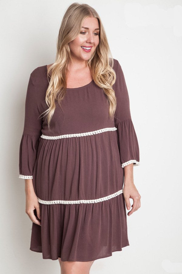 Plus Size Chocolate Bell Sleeve Peasant Dress