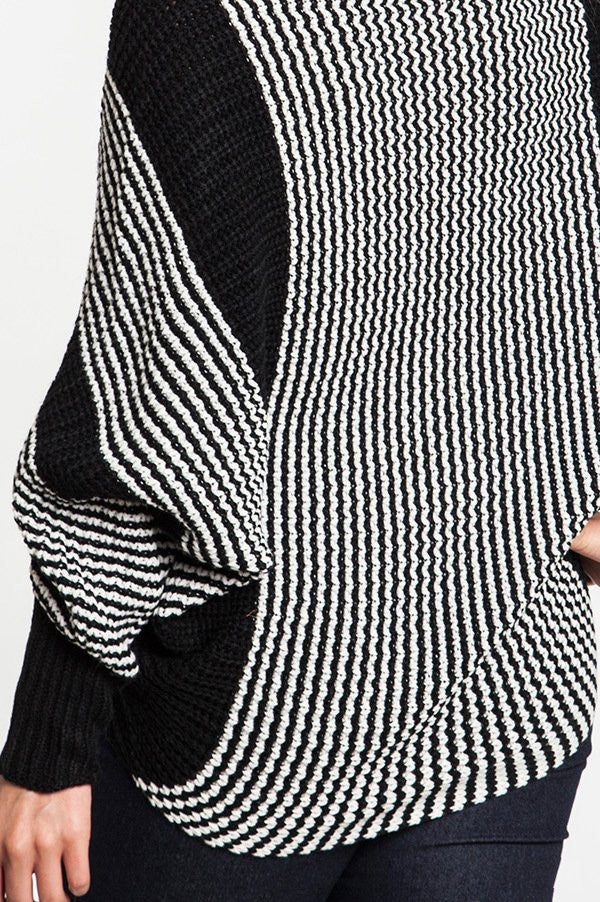 plus size black chunky knit striped sweater with dolman sleeve
