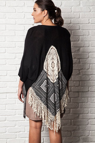 Plus Size Striped Kimono Sweater With Lace Detail