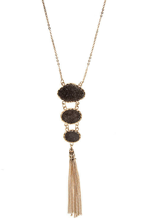 triple dot black drussy stone long necklace