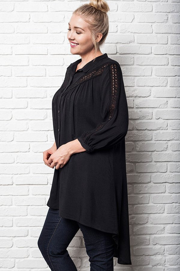 women's plus size hi lo hem black lace up tunic