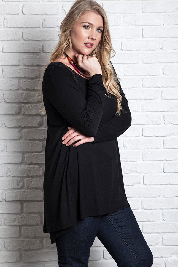 black long sleeve hi-lo not so basic knit top