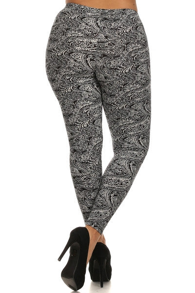 plus size black paisley leggings