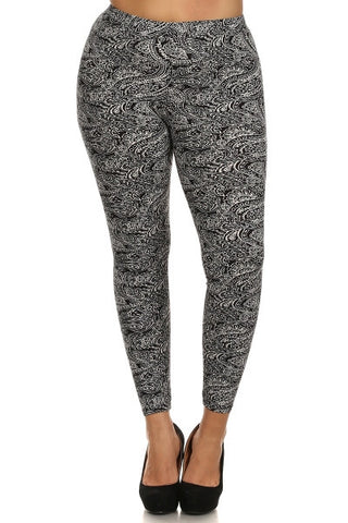 Plus Size High-Waist Flocking Printed Leggings