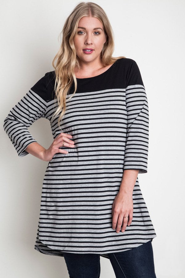 plus size black stripe tee dress
