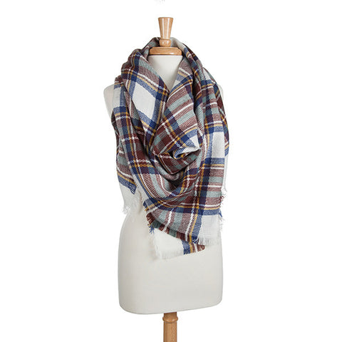Plaid Blanket Scarf - Green/Navy