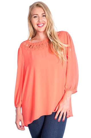 Plus Size 3/4 Sleeve Casual Chic Top - Almond