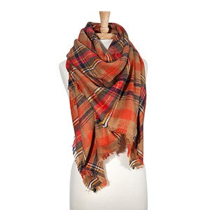 plaid blanket scarf brown orange navy