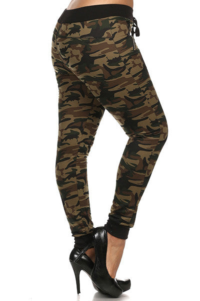 plus size camouflage drawstring jogger pants with band cuffs