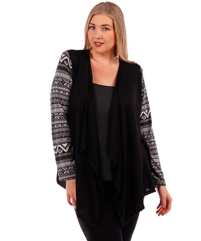 Plus Size Cowl Neck Cardigan - Beige