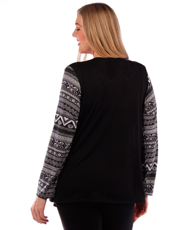 plus size black cardigan with printed sleeves