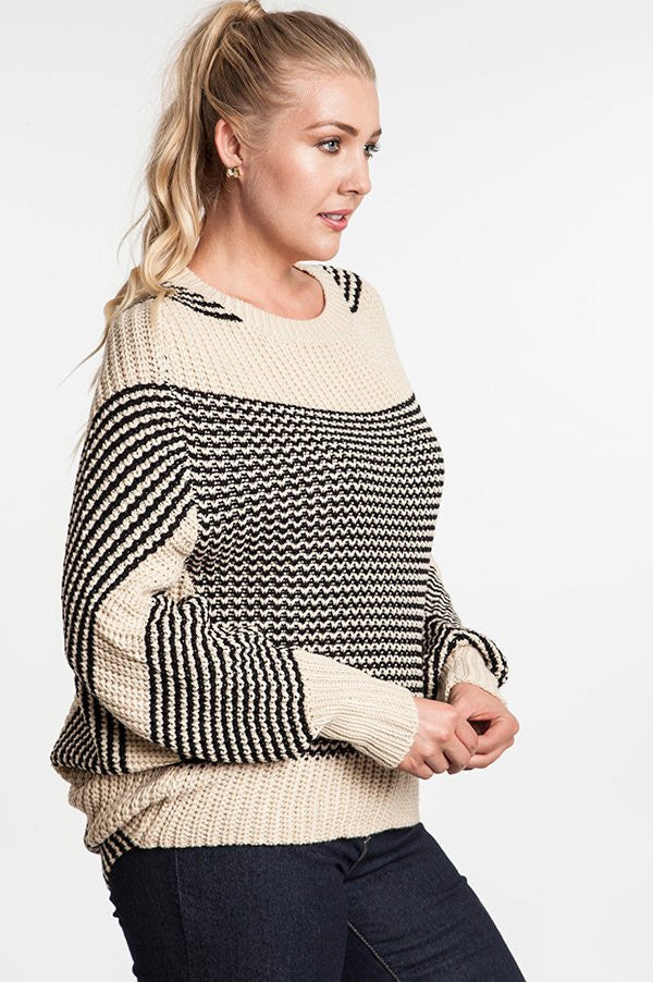 plus size natural chunky knit striped sweater dolman sleeves