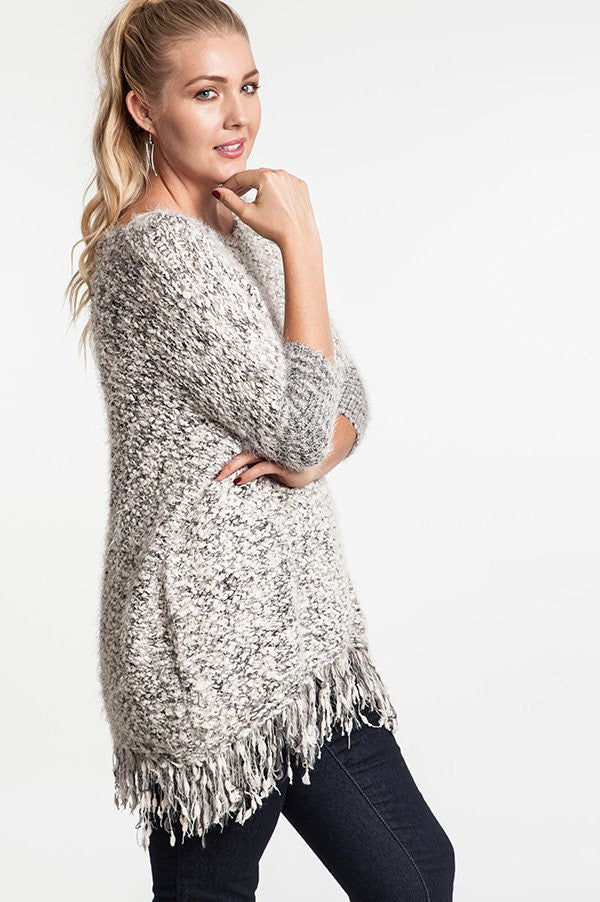 Plus Size Chunky Knit Sweater With Frayed Trim - DeSarti.com