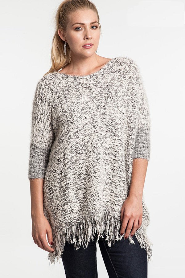 plus size chunky knit sweater with frayed trim black white