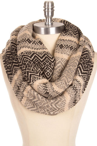 Two Tone Herringbone Pattern Frayed Edge Infinity Chunky Scarf - Black