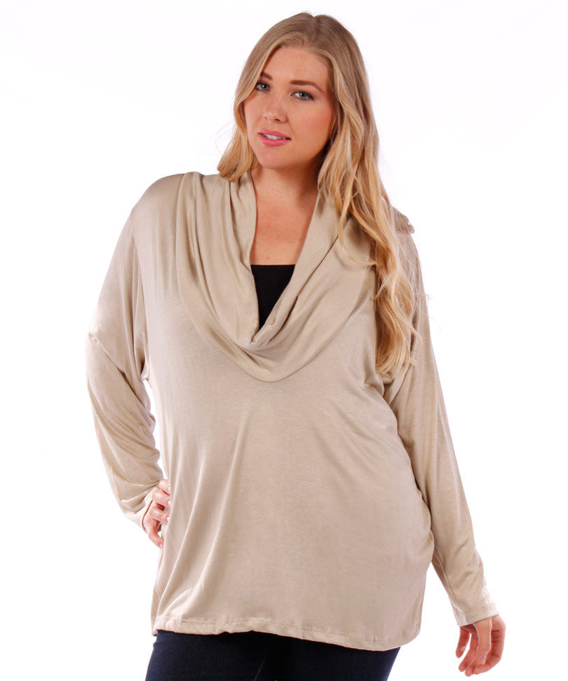 plus size cowl neck beige cardigan