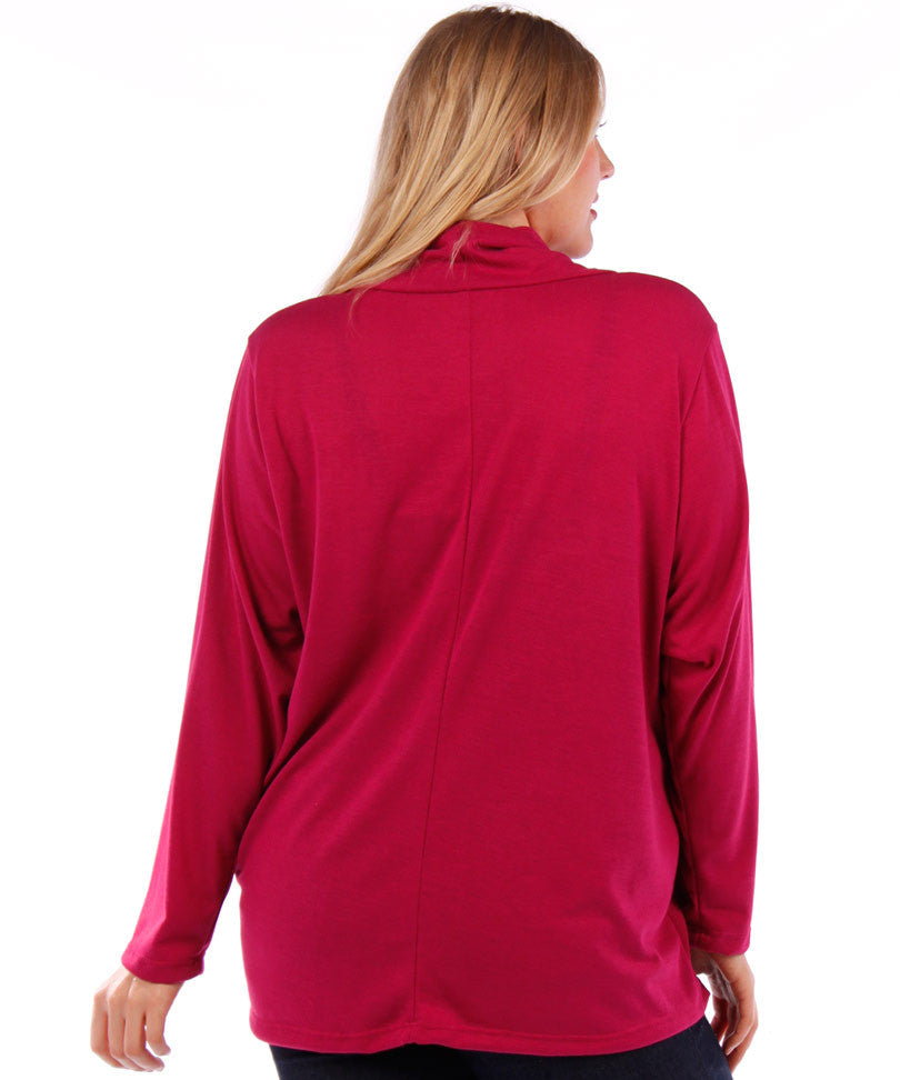 plus size cowl neck magenta cardigan