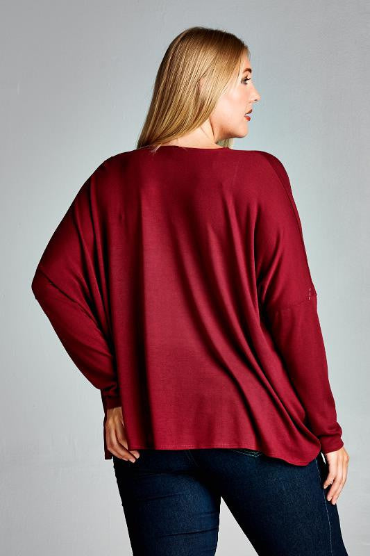 plus size front criss cross burgundy cardigan