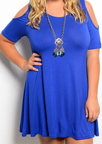 Plus Size Cutout Shoulder Dress - Royal Blue - DeSarti.com