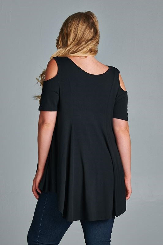 plus size cold shoulder cutout top black