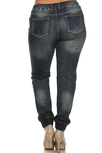 women's plus size high waist denim cargo pants