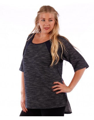 women's plus size navy contrast heathered top with hi-lo hem